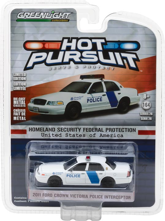 GreenLight 1/64 Hot Pursuit Series 26 - 2011 Ford Crown Victoria Police Interceptor Homeland Security Federal Protective Service Police 42830-D