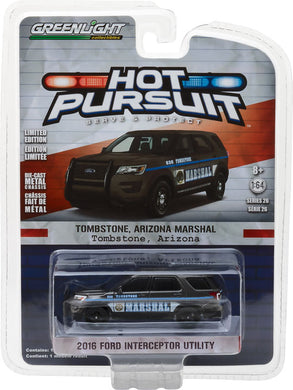 GreenLight 1/64 Hot Pursuit Series 26 - 2016 Ford Interceptor Utility - Tombstone, Arizona Marshal 42830-E