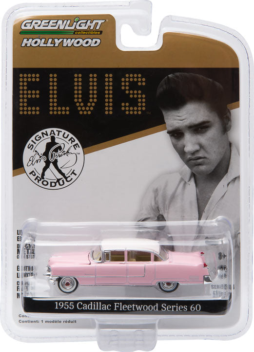 GreenLight 1/64 Hollywood - Elvis Presley (1935-77) - 1955 Cadillac Fleetwood Series 60 Pink Cadillac 44740-C