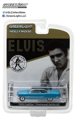 GreenLight 1/64 Hollywood - Elvis Presley (1935-77) - 1955 Cadillac Fleetwood Series 60 Blue Cadillac 44760-A