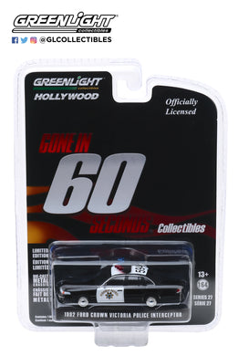 GreenLight 1:64 Hollywood Series 27 - Gone in Sixty Seconds (2000) - 1992 Ford Crown Victoria Police Interceptor - California Highway Patrol 44870-E
