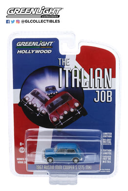 GreenLight 1:64 Hollywood Series 28 - The Italian Job (1969) - 1967 Austin Mini Cooper S 1275 MkI - Blue with Black Leather Straps 44880-A