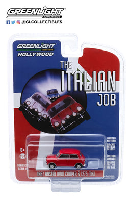 GreenLight 1:64 Hollywood Series 28 - The Italian Job (1969) - 1967 Austin Mini Cooper S 1275 MkI - Red with Black Leather Straps 44880-B