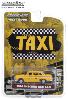 GreenLight 1:64 Hollywood Series 29 - Taxi (1978-83 TV Series) - 1974 Checker Taxi Sunshine Cab Company #804 44890-C