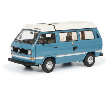 Schuco 1/18 Volkswagen T3a Westfalia Joker with folding roof blue 450038700