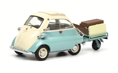 Schuco 1/43 BMW Isetta with trailer and luggage Auto-Porter green beige 450260400