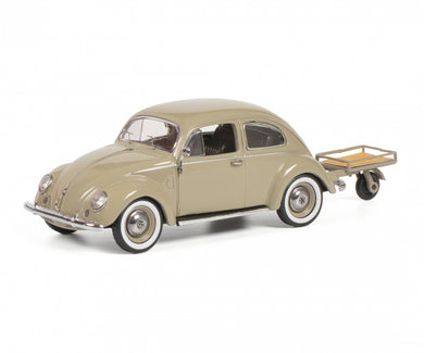 Schuco 1:43 Volkswagen Beetle Kafer With Trailer 1958 Beige 450269200