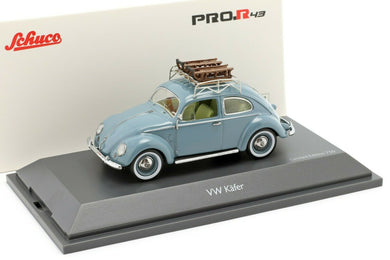 Schuco 1:43 Volkswagen VW Pretzel beetle with sleigh blue 450270900