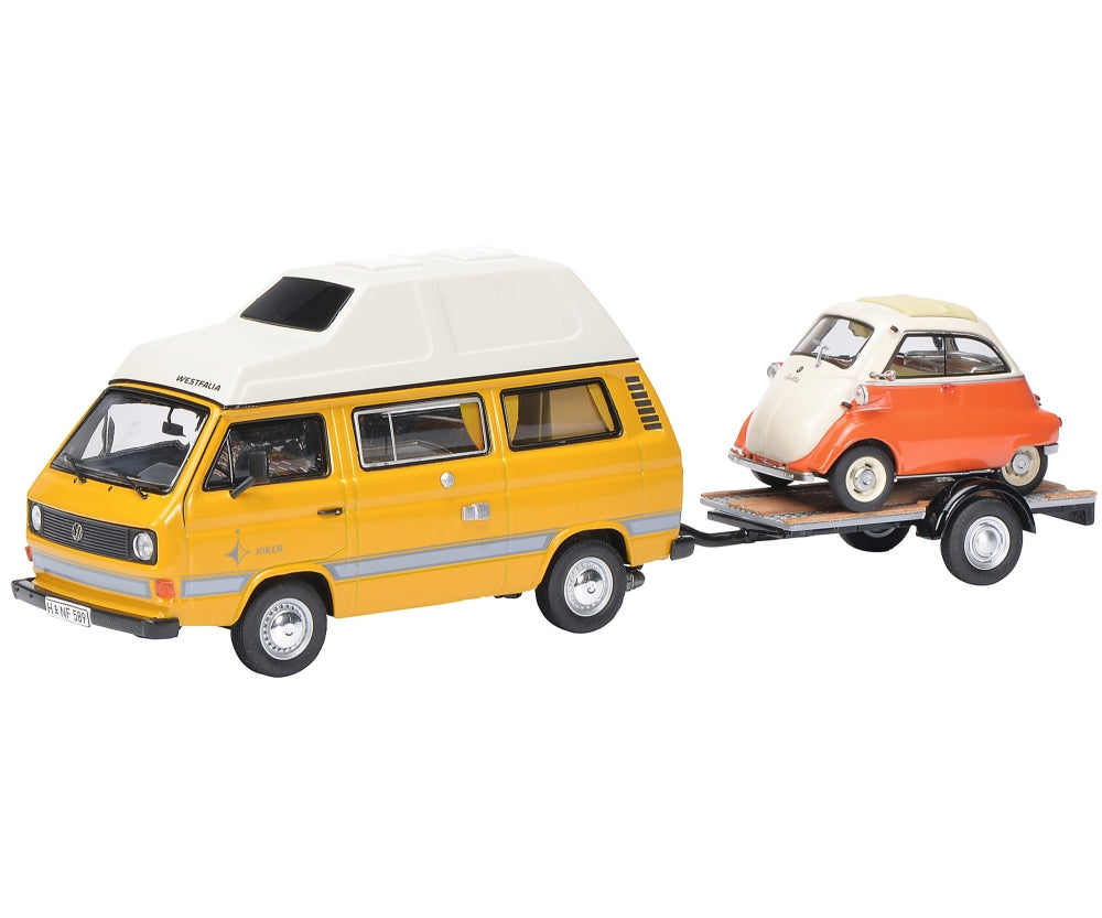 Schuco 1/43 Volkswagen T3 Joker camping bus with trailer and BMW Isetta 450330300