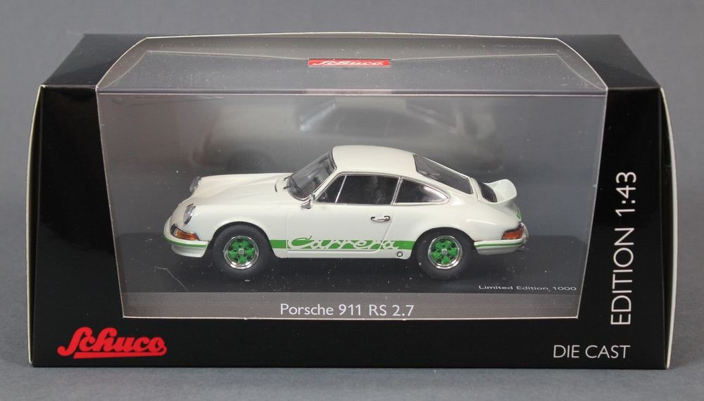 Schuco 1/43 Porsche 911 RS 2.7 white with green 450361600