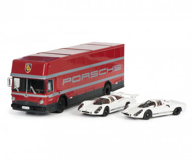Schuco 1/43 Set Edition 70 Jahre Porsche racing transporter Mercedes-Benz O317 with Porsche 908 short and long tail 450372700