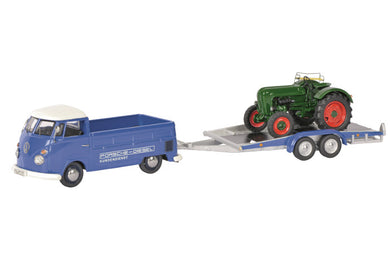 Schuco 1/43 Volkswagen T1C pick-up with trailer and Allgaier tractor 450374000