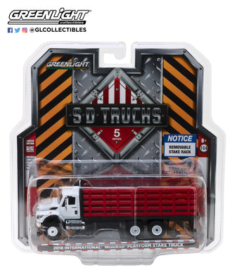 GreenLight 1/64 S.D. Trucks Series 5 - 2018 International WorkStar Platform Stake Truck - Red 45050-B
