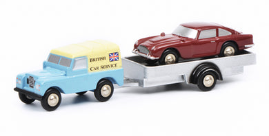 Schuco 1/90 Piccolo Land Rover with trailer and Aston Martin DB5 British Car Service 450502700