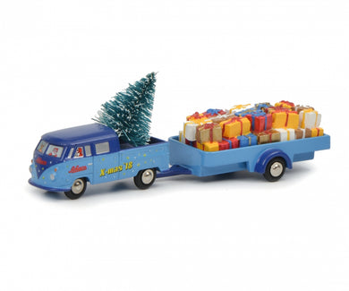 Schuco 1/90 Volkswagen T1 dual cab with trailer Christmas Edition 2018 450557300