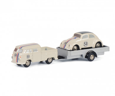 Schuco 1:90 Piccolo Volkswagen T1 Bulli double-cabin/platform with car-trailer and VW beetle Herbie 450557500