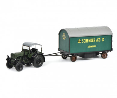 Schuco 1:32 Deutz F3 M417 universal tractor with top and trailer Schenker 450781900