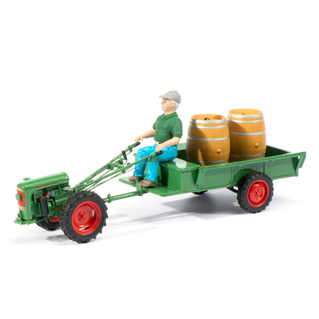 Schuco 1/32 Holder EDII With Trailer Driver Figure and Wine Barrels 450895200
