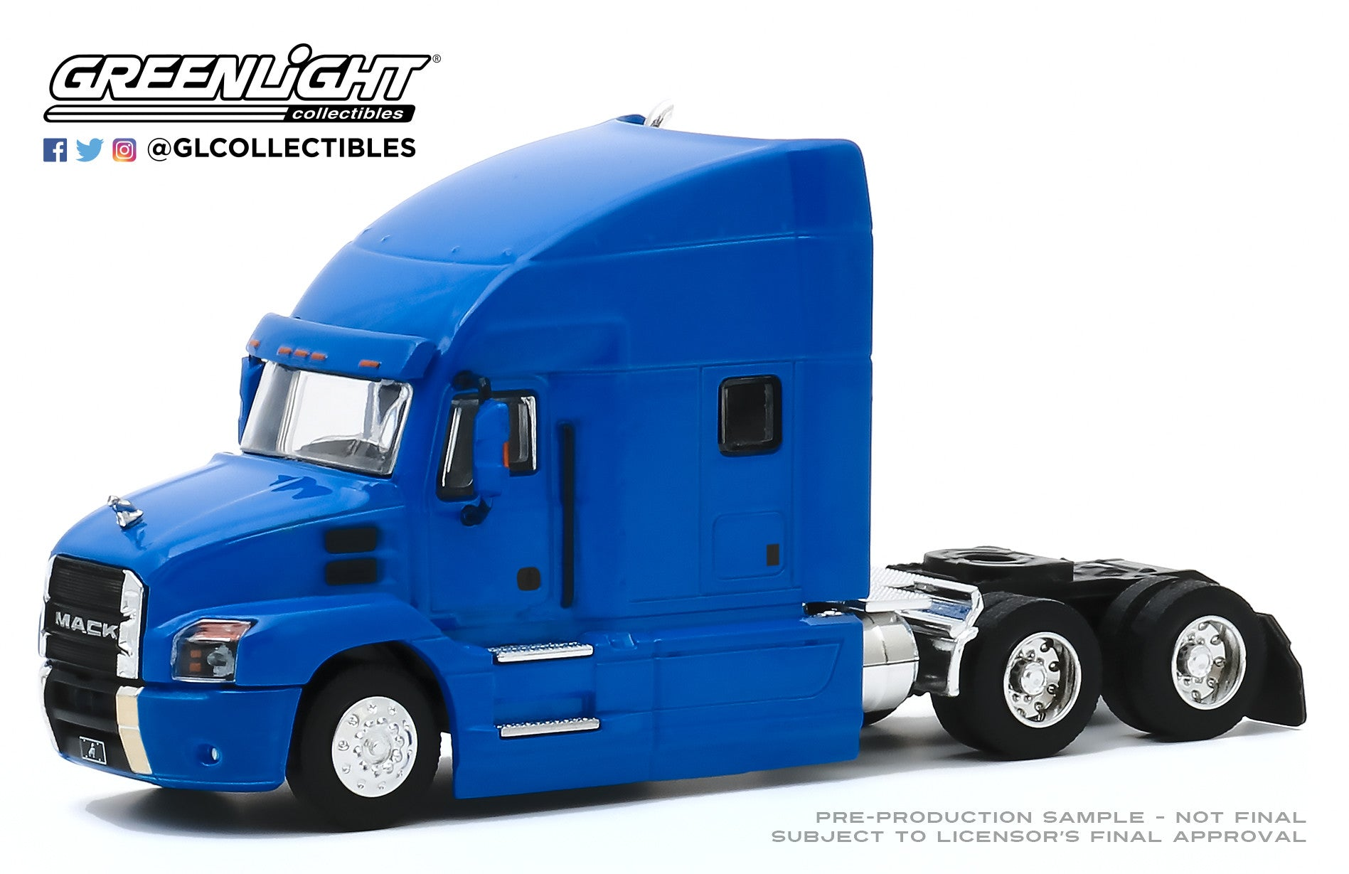 GreenLight 1:64 S.D. Trucks Series 10 - 2019 Mack Anthem Truck Cab - Cobalt Blue 45100-B
