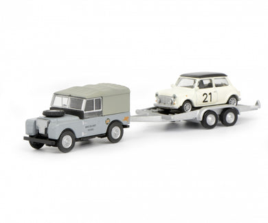 Schuco 1/87 Land Rover I with trailer and Mini #21 452632700