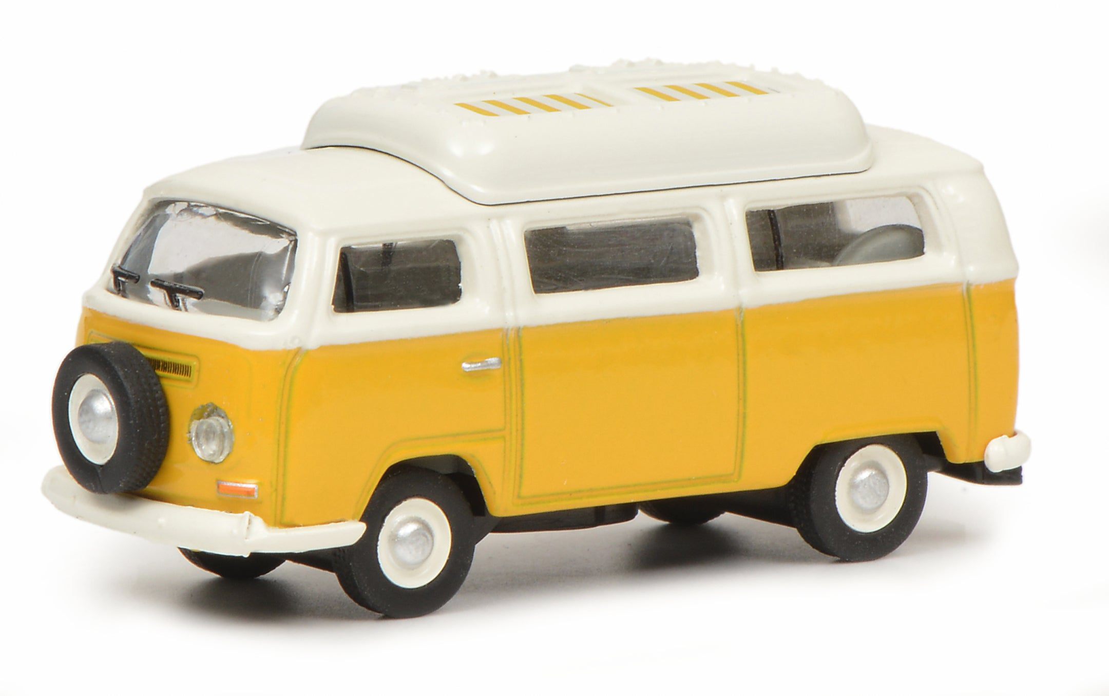 Schuco 1:87 Volkswagen T2a camping bus with closed roof yellow white 452644400