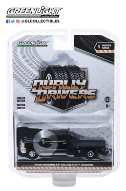 GreenLight 1:64 Dually Drivers Series 1 - 2018 Chevrolet Silverado 3500 Dually Flatbed - Black 46010-A