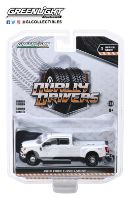 GreenLight 1:64 Dually Drivers Series 1 - 2018 Ford F-350 Lariat - Oxford White 46010-C