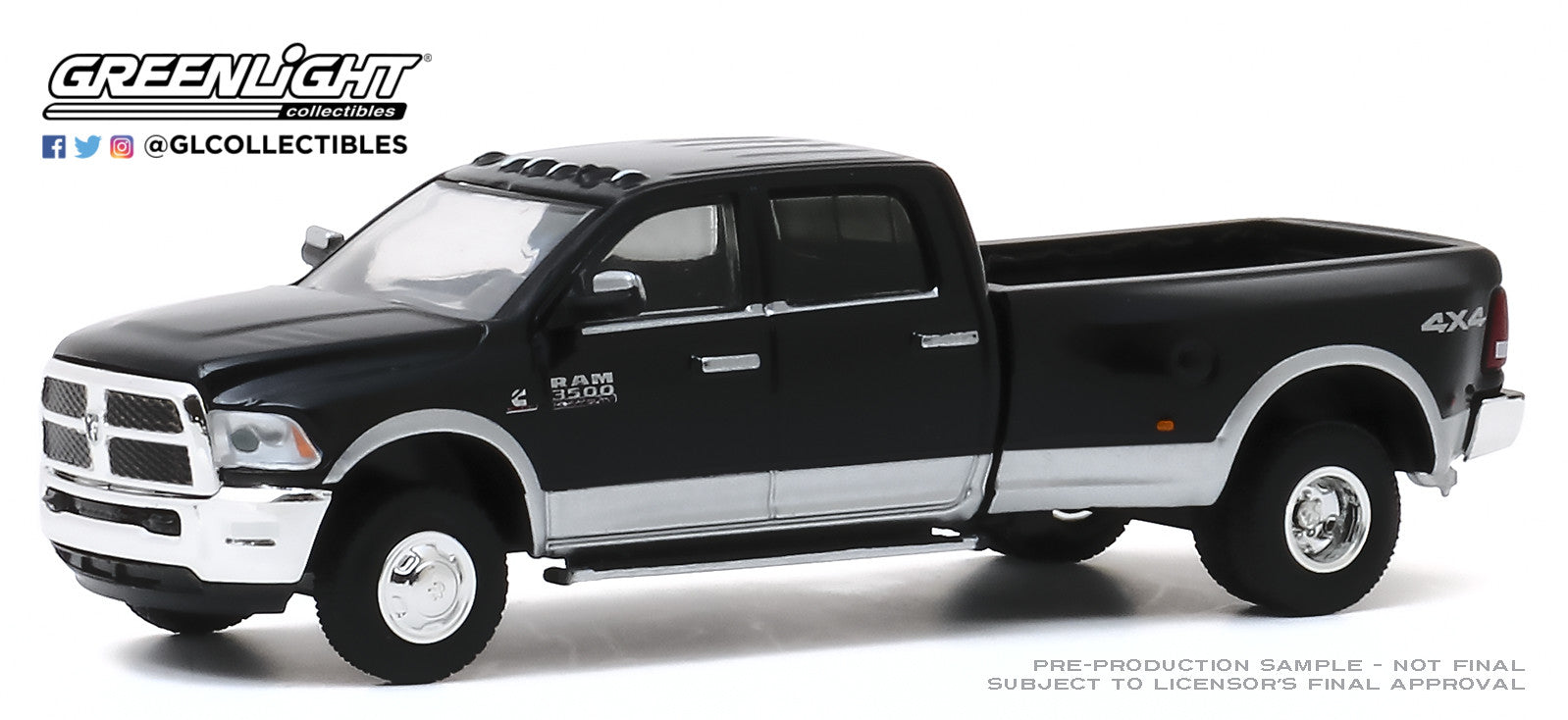 GreenLight 1:64 Dually Drivers Series 4 - 2018 Dodge Ram 3500 Dually - Harvest Edition - Brilliant Black and Bright Silver 46040-E