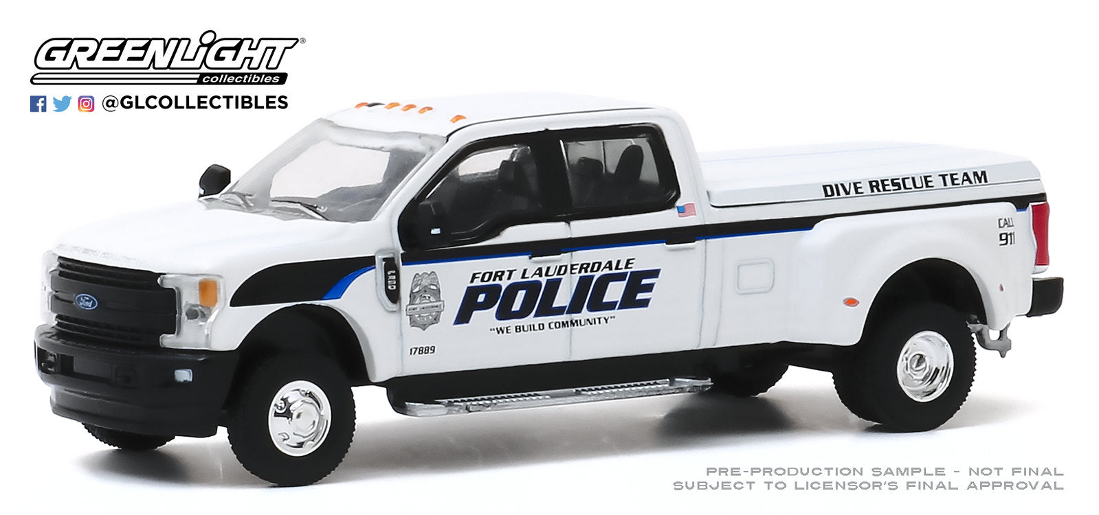 GreenLight 1:64 Dually Drivers Series 4 - 2019 Ford F-350 Dually - Fort Lauderdale, Florida Police Department Dive Team 46040-F