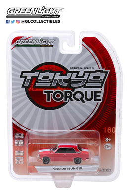 GreenLight 1/64 Tokyo Torque Series 5 - 1970 Datsun 510 Custom - Red with White Stripes 47030-B