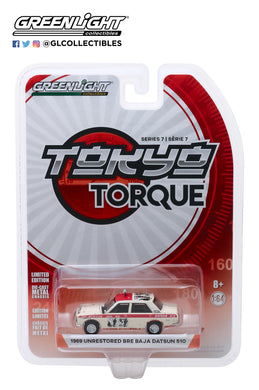 GreenLight 1:64 Tokyo Torque Series 7 - 1969 Datsun 510 4-Door Sedan - #89 Brock Racing Enterprises (BRE) Peter Brock Mexican 1000 Rally 47050-A
