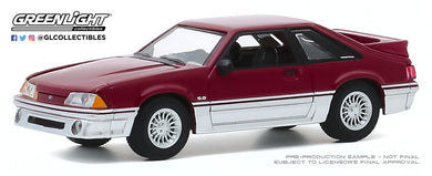 GreenLight 1:64 Hot Hatches Series 1 - 1988 Ford Mustang GT - Medium Scarlet and Silver 47080-C