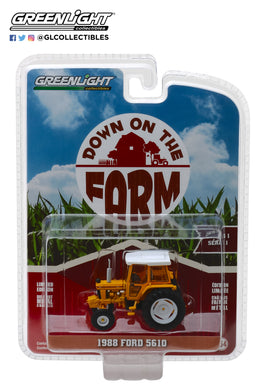GreenLight 1/64 Down on the Farm Series 1 - 1988 Ford 5610 Tractor - Yellow and White with Enclosed Cab 48010-D