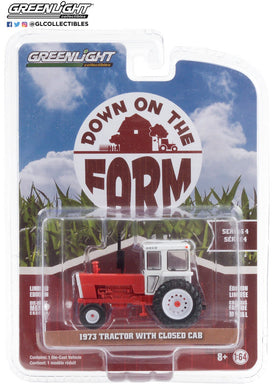 GreenLight 1:64 Down on the Farm Series 4 - 1973 Tractor with Closed Cab - Red and White 48040-A