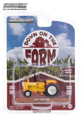 GreenLight 1:64 Down on the Farm Series 4 - 1974 Tractor with Open Cab - Yellow and White 48040-B