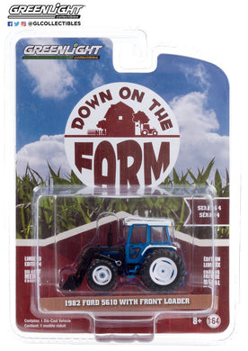 GreenLight 1:64 Down on the Farm Series 4 - 1982 Ford 5610 Tractor with Front Loader - Blue and Black 48040-C