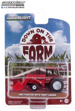 GreenLight 1:64 Down on the Farm Series 4 - 1982 Tractor - Red and Black with Front Loader and Dual Rear Wheels 48040-D