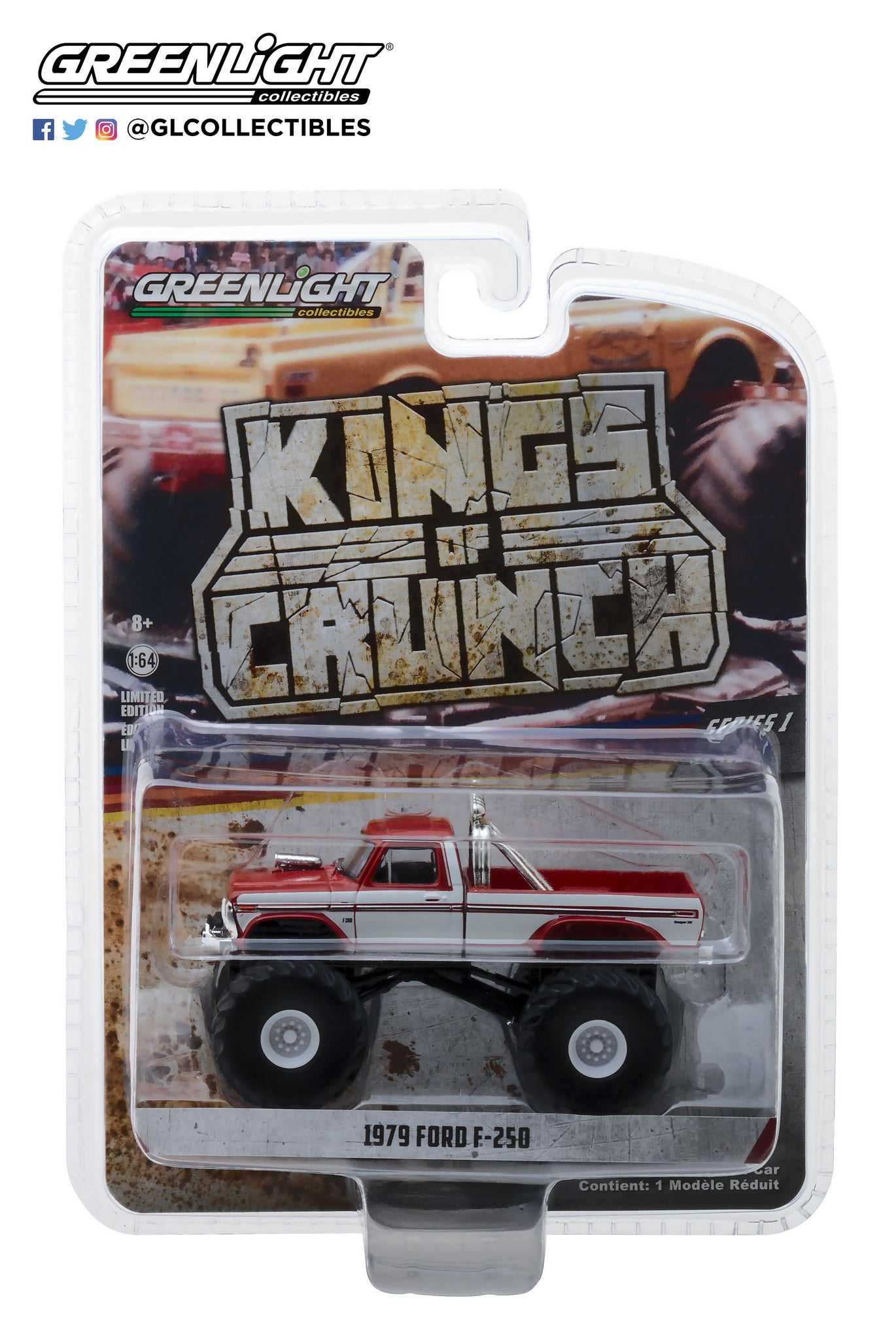 GreenLight 1/64 Kings of Crunch Series 1 - 1979 Ford F-250 Monster Truck - Maroon with White Stripes 49010-E