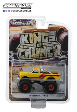 GreenLight 1/64 Kings of Crunch Series 1 - 1972 Chevrolet K-10 Monster Truck - Yellow, Orange, Red and Brown 49010-F