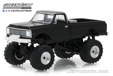 GreenLight 1/64 Kings of Crunch Series 2 - 1972 Chevrolet K-10 Monster Truck - Black 49020-F
