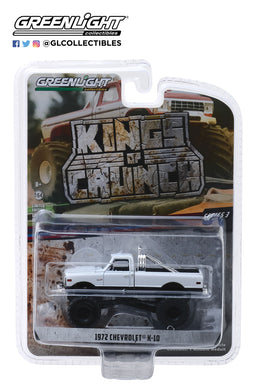 GreenLight 1/64 Kings of Crunch Series 3 - 1972 Chevrolet K-10 Monster Truck - White 49030-C