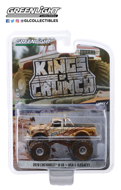 GreenLight 1/64 Kings of Crunch Series 4 - USA-1 - 1970 Chevrolet K-10 Monster Truck (Dirty Version) 49040-D