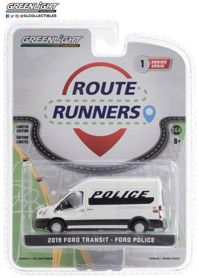GreenLight 1:64 Route Runners Series 1 - 2019 Ford Transit LWB High Roof - Ford Police Prisoner Transport Vehicle 53010-D