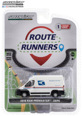GreenLight 1:64 Route Runners Series 1 - 2019 Dodge Ram ProMaster 2500 Cargo High Roof - United States Postal Service (USPS) 53010-F