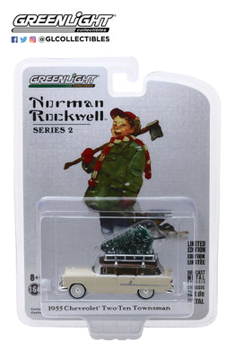 GreenLight 1:64 Norman Rockwell Series 2 - 1955 Chevrolet Two-Ten Townsman with Christmas Tree Accessory 54020-B