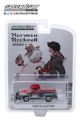GreenLight 1:64 Norman Rockwell Series 2 - 1956 Ford F-100 with Snow Plow 54020-C