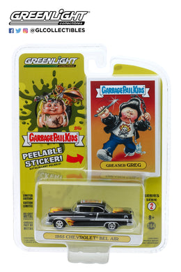 GreenLight 1:64 Garbage Pail Kids Series 2 - Greaser Greg - 1955 Chevrolet Bel Air with Flames 54030-A