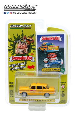 GreenLight 1:64 Garbage Pail Kids Series 2 - Unaware Aaron - 1970 Checker Motors Marathon A11 GPK Taxi Co. 54030-F