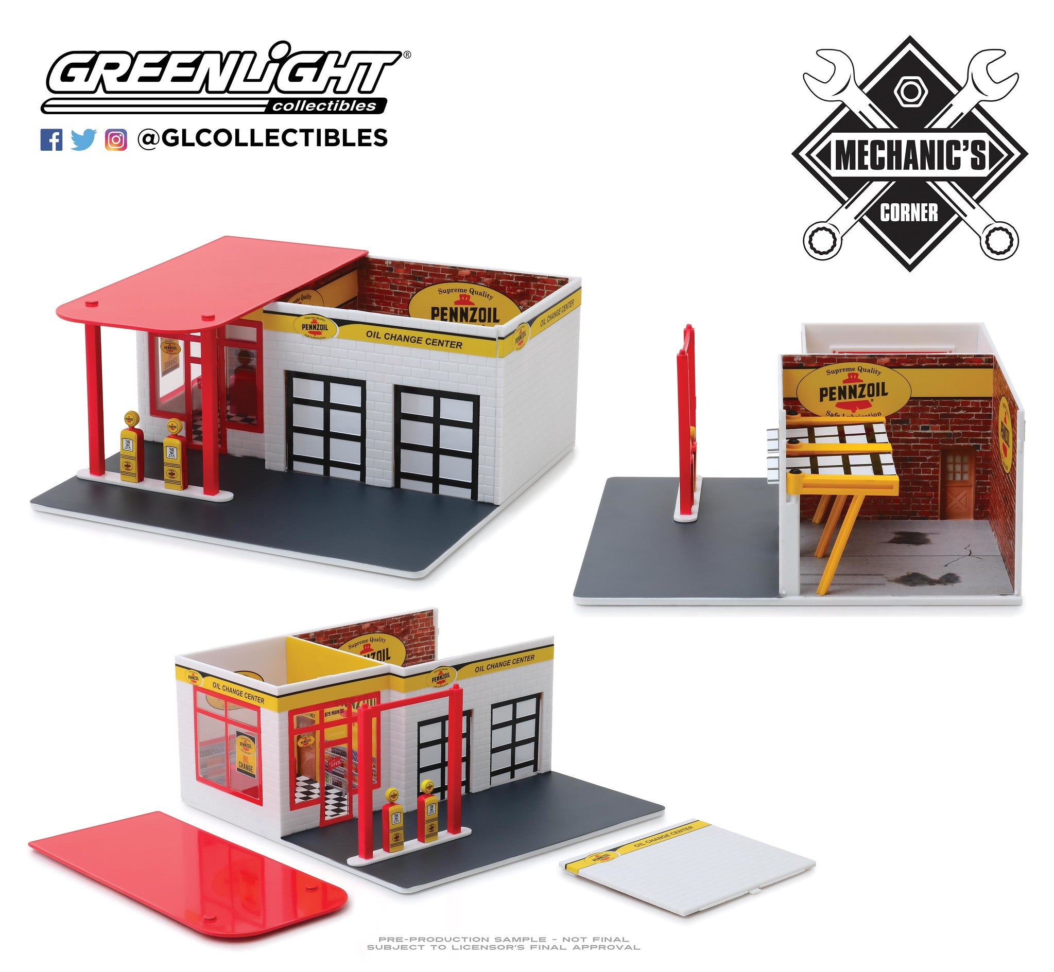 GreenLight 1/64 Mechanic's Corner Series 5 - Vintage Gas Station Pennzoil 10 Minute Oil Change Center 57052