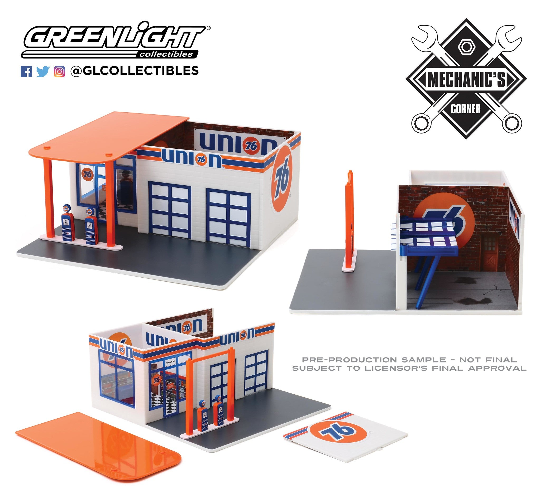 GreenLight 1:64 Mechanic s Corner Series 6 - Vintage Gas Station Union 76 Service Station 57062